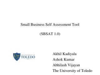 Small Business Self Assessment Tool (SBSAT 1.0)