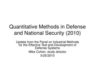 Quantitative Methods in Defense and National Security (2010)