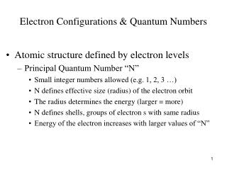 Electron Configurations & Quantum Numbers