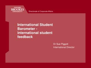 International Student Barometer - international student feedback
