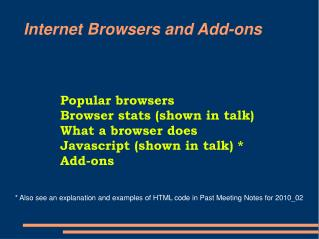 Internet Browsers and Add-ons