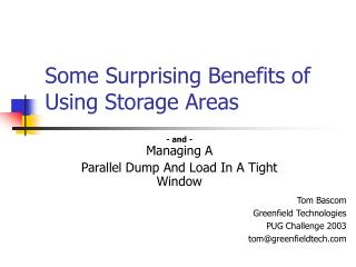 Some Surprising Benefits of Using Storage Areas