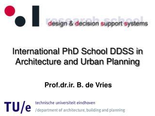 International PhD School DDSS in Architecture and Urban Planning