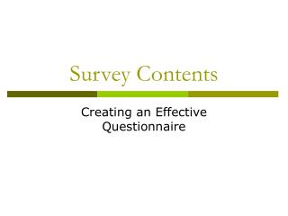Survey Contents