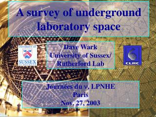 A survey of underground laboratory space
