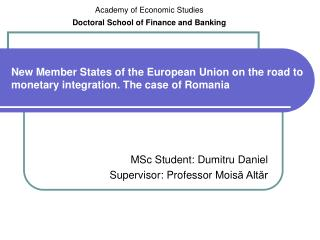 New Member States of the European Union on the road to monetary integration. The case of Romania