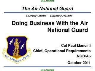 Doing Business With the Air National Guard