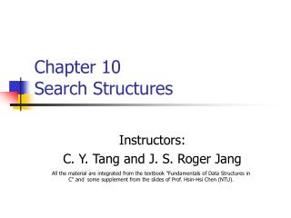 Chapter 10 Search Structures