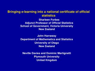 Bringing e-learning into a national certificate of official statistics