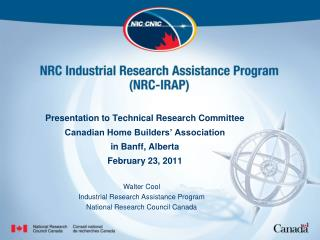 Walter Cool Industrial Research Assistance Program National Research Council Canada