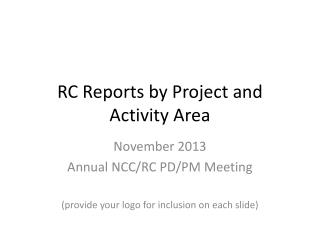 RC Reports by Project  and Activity Area