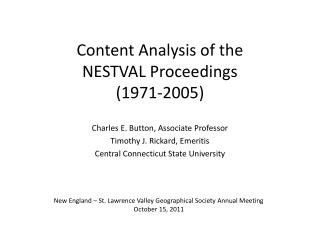 Content Analysis of the NESTVAL Proceedings (1971-2005)
