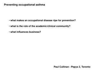 Preventing occupational asthma