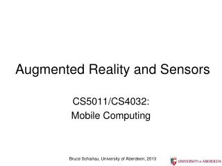 Augmented Reality and Sensors