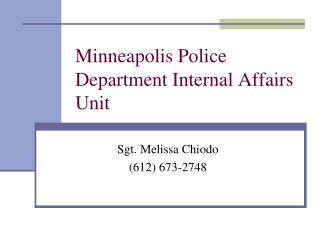 Minneapolis Police Department Internal Affairs Unit