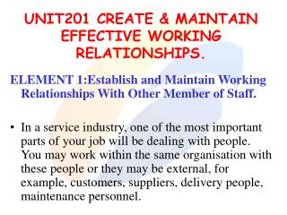 UNIT201 CREATE & MAINTAIN EFFECTIVE WORKING RELATIONSHIPS.