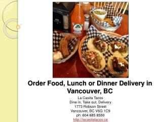 Order Food Lunch or Dinner Delivery in Vancouver BC