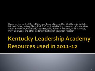 Kentucky Leadership Academy Resources used in 2011-12