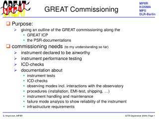 GREAT Commissioning