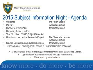 2015 Subject Information  Night - Agenda