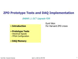 ZPD Prototype Tests and DAQ Implementation