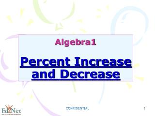 Algebra1 Percent Increase and Decrease