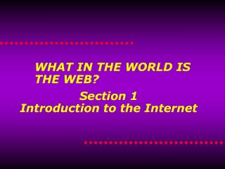 Section 1 Introduction to the Internet