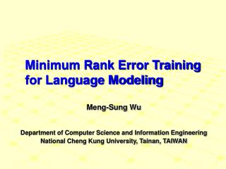 Minimum Rank Error Training for Language Modeling