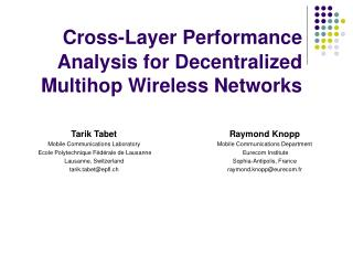 Cross-Layer Performance Analysis for Decentralized Multihop Wireless Networks