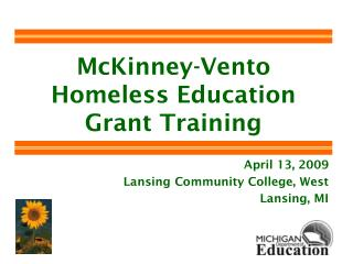 McKinney-Vento Homeless Education Grant Training