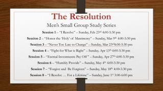 The Resolution Men's Small Group Study Series