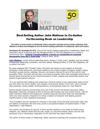 Best-Selling Author John Mattone to Co-Author Forthcoming Bo