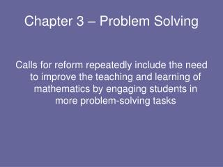 Chapter 3 – Problem Solving