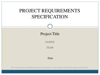PROJECT REQUIREMENTS SPECIFICATION