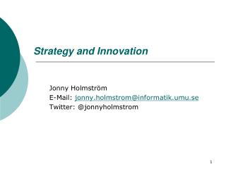 Strategy and Innovation