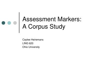 Assessment Markers: A Corpus Study