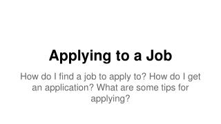 Applying to a Job