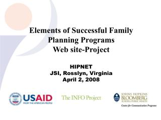 Elements of Successful Family Planning Programs Web site-Project HIPNET JSI, Rosslyn, Virginia
