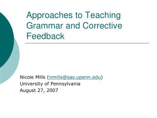 Approaches to Teaching Grammar and Corrective Feedback