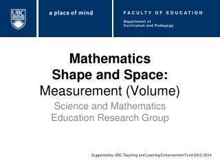 Mathematics Shape and Space:  Measurement (Volume)