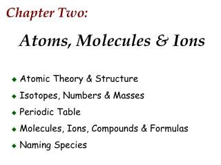 Chapter Two: Atoms, Molecules & Ions