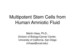Multipotent Stem Cells from  Human Amniotic Fluid