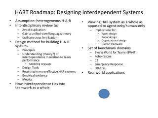HART Roadmap: Designing Interdependent Systems
