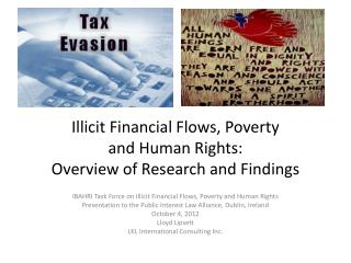 Illicit Financial Flows, Poverty  and Human Rights:   Overview of Research and Findings