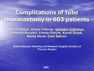 Complications of tube thoracostomy in 603 patients