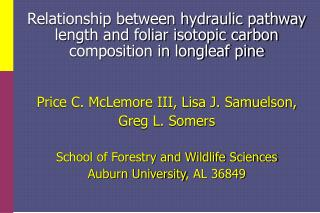 Price C. McLemore III, Lisa J. Samuelson, Greg L. Somers School of Forestry and Wildlife Sciences