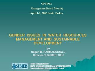 GENDER  ISSUES  IN  WATER  RESOURCES  MANAGEMENT AND  SUSTAINABLE  D EVELOPMENT