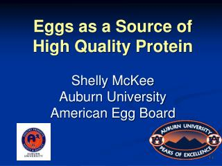Eggs as a Source of High Quality Protein Shelly McKee Auburn University American Egg Board