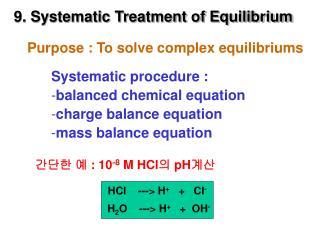 9. Systematic Treatment of Equilibrium