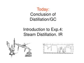 Today: Conclusion of Distillation/GC  Introduction to Exp.4:  Steam Distillation. IR
